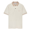 22834 JERSEY PLACCATO Polo Shirt in Plaster