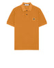 22S67 Pigment Dye Short Sleeve Polo Shirt in Orange