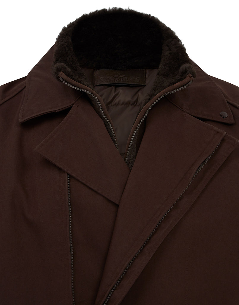 440F1 Raso Gommato Double Ghost Piece With Detachable Lining Trench Coat in Dark Brown