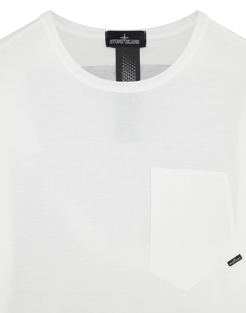 20110 PRINTED SS CATCH POCKET T-Shirt in White