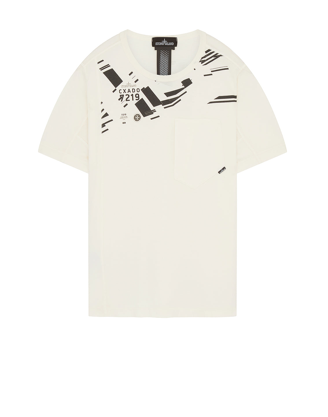 20610 PRINTED SS CATCH POCKET T-Shirt in Natural