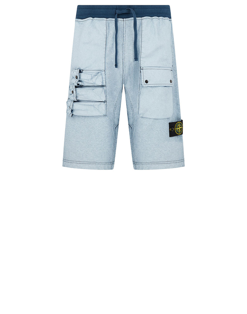 63665 FELPA PLACCATA Shorts in Blue Marine