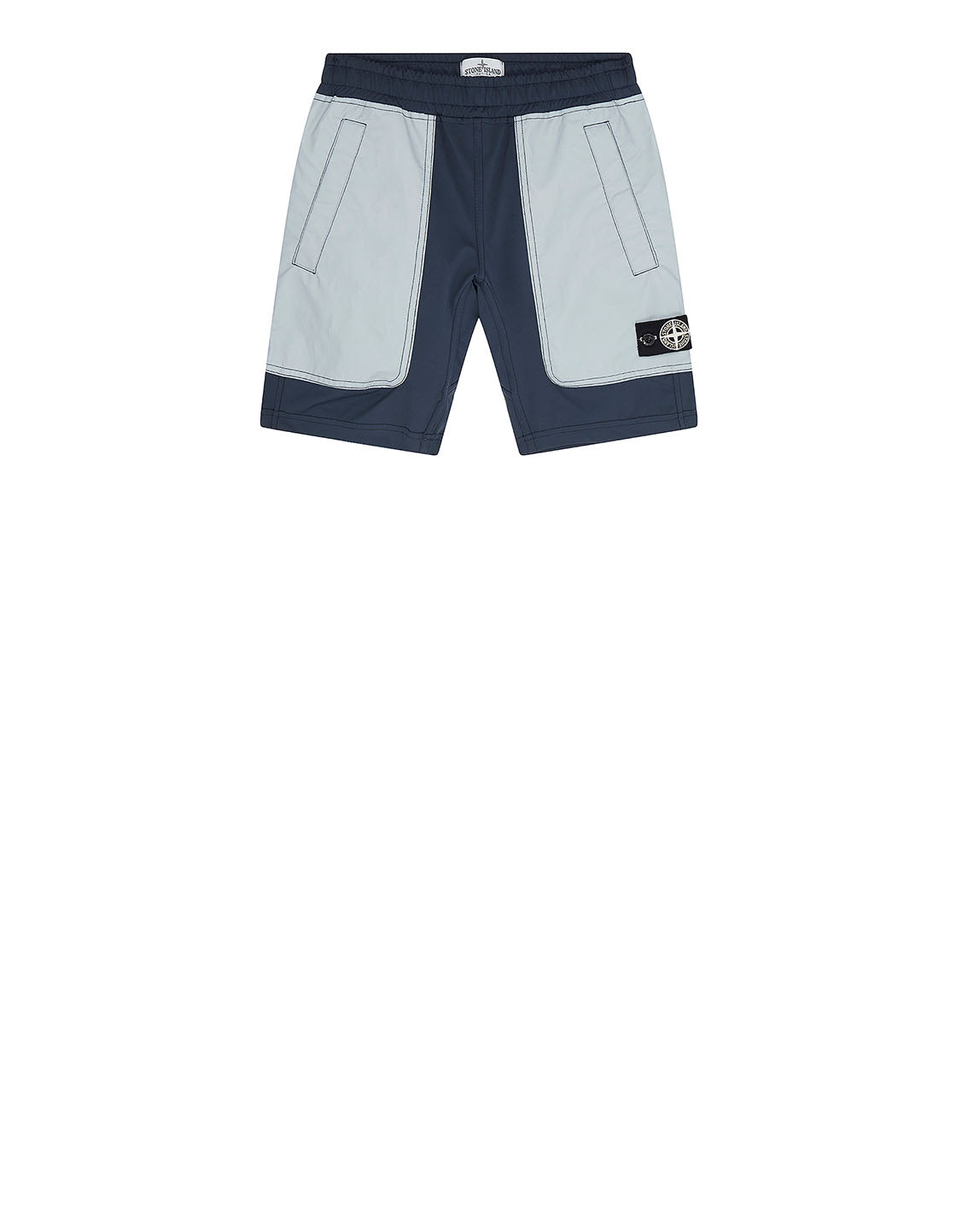 L0836 GARMENT DYED PLATED REFLECTIVE BERMUDA SHORTS in Navy Blue