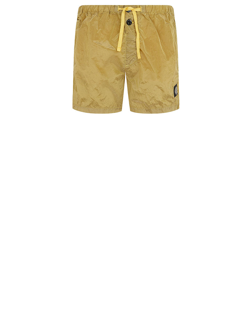 B0643 NYLON METAL Shorts in Mustard