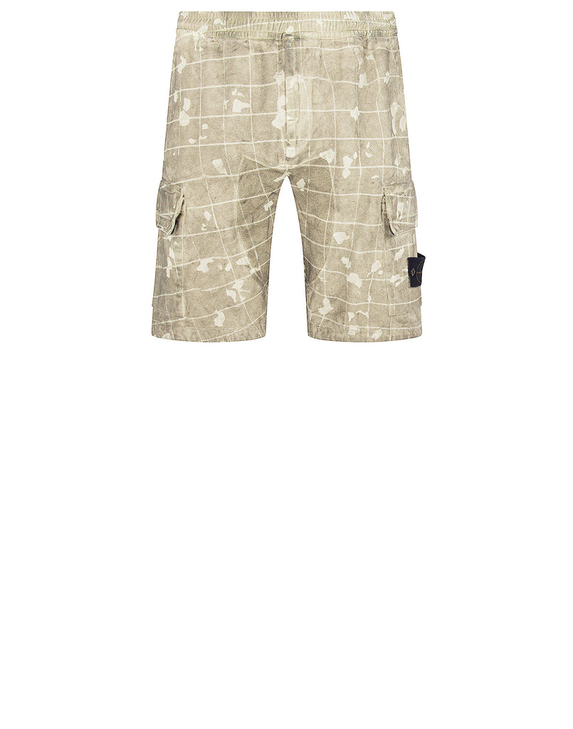 L01E2 Dust Colour With Ghillie Laser Camo Bermuda Shorts in Butter