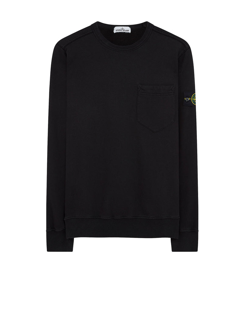 63820 Chest Pocket Crewneck Sweatshirt in Black