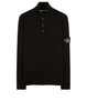 519B2 Half Button Hidden Zip Funnel Knit in Black