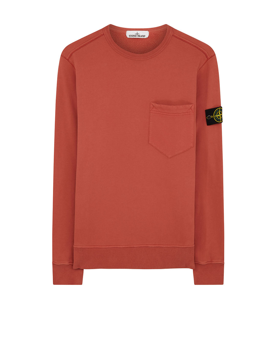63820 Chest Pocket Crewneck Sweatshirt in Rust