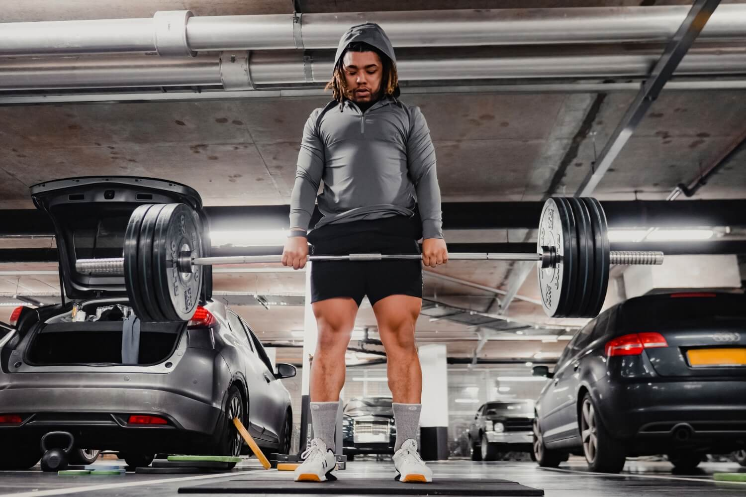 Mens CrossFit shorts training with barbell