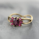 Berry sapphire and ruby cluster ring in 14K yellow gold