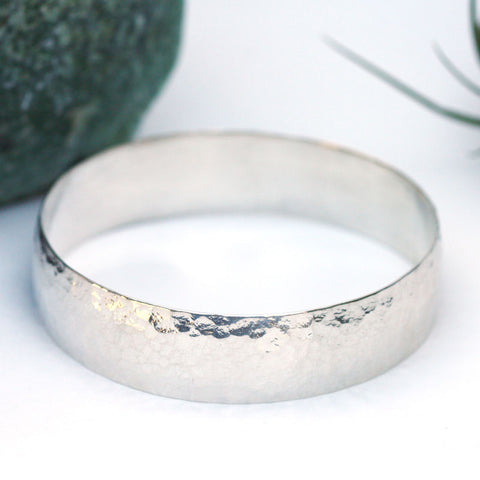Hammered Bangle - Wide
