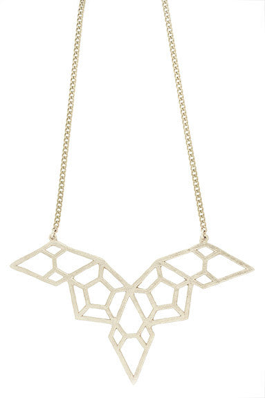 Hammered Geometric Bib Necklace