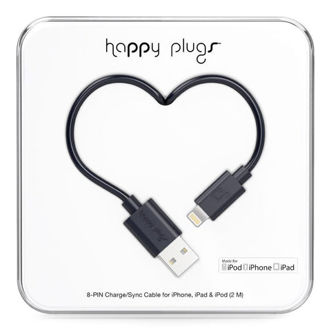 Happy Plugs 2m MFi Lightning Cable Black