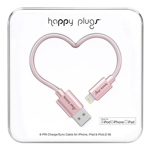 Happy Plugs 2m MFi Lightning Cable Pink Gold