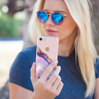 Casery Pink & Blue Agate iPhone XS Case