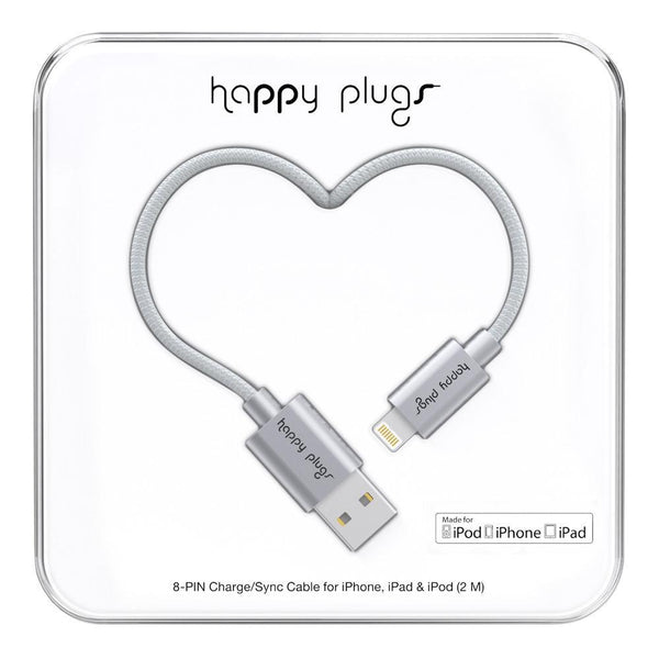 Happy Plugs 2m MFi Lightning Cable Space Grey