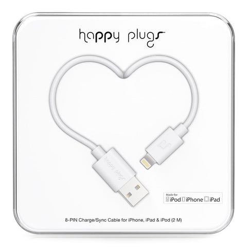 Happy Plugs 2m MFi Lightning Cable White