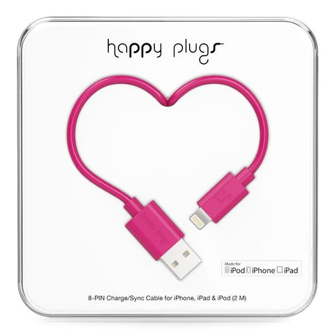 Happy Plugs 2m MFi Lightning Cable Cerise