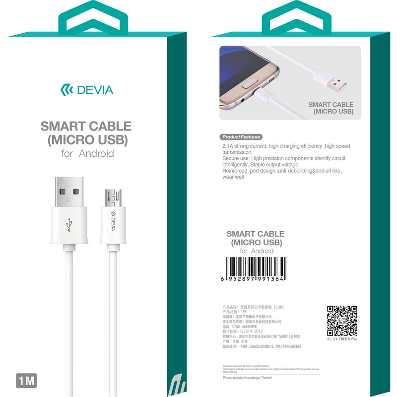 Devia Smart Cable Micro USB White 1m