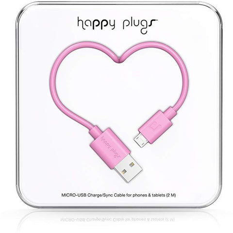 Happy Plugs 2m Micro USB Cable Pink
