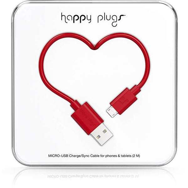 Happy Plugs 2m Micro USB Cable Red