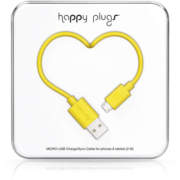 Happy Plugs 2m Micro USB Cable Yellow