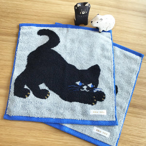 Sou‧Sou 日本今治方巾 - 黑色小貓 Sou‧Sou Imabari Wash Towel - Black Kitten