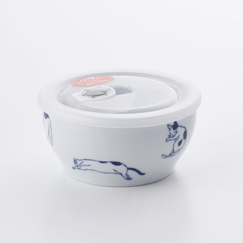 路地貓波佐見燒氣密保鮮碗 - B款 Hasami Porcelain Cat Airtight Storage Bowl - B