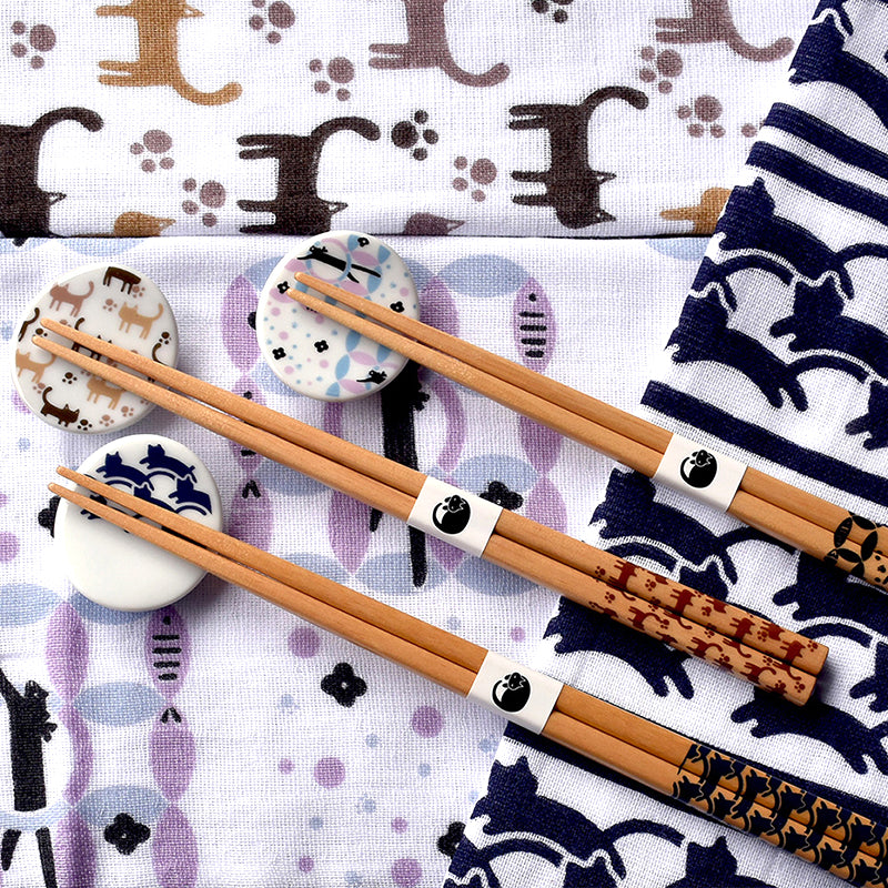 小貓筷子連托架套裝(2款選擇)*Kitten Monogram Chopsticks Set (2-option)