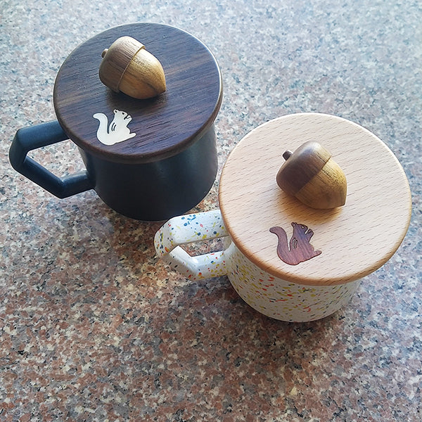 日本木象嵌松鼠杯蓋 (2款選擇)*Japan Wooden Squirrel Mug Cover (2-option)