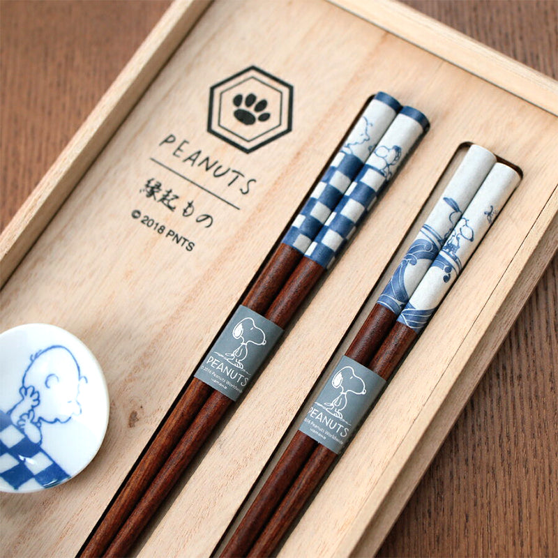 和風 Snoopy 對筷連托架套裝 Wafu Snoopy Pair Chopsticks Set