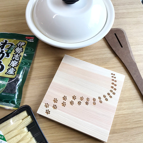 四万十檜木貓足印隔熱墊 Shimanto Hinoki Cat footprint Coaster