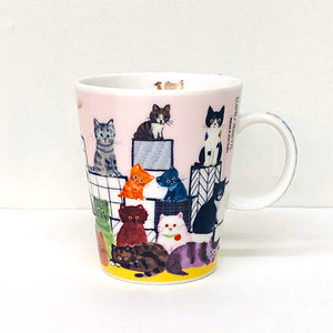 水彩畫貓兒陶瓷杯 - 台階 Watercolor Cat Pottery Mug - Steps