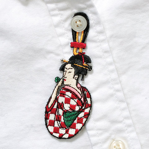 日本刺繡襟章 - 喜多川歌麿 Japan Embroidery Button Brooch - Kitagawa Utamaro