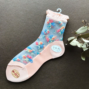 日本製碎花透視襪子 Japan flower See-through Socks