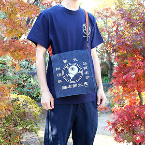 鬼太郎本舗日本牛仔斜孭袋 - 眼珠爺爺 GeGeGe no Kitarō Denim Crossbody Bag - Medama-oyaji