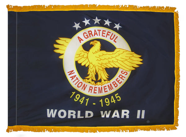 WW II Veterans Commemorative Indoor Fringed Flag