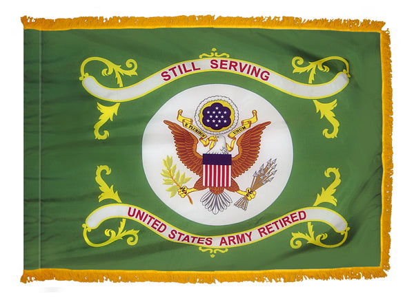 US Army Retired Indoor Fringed Flag