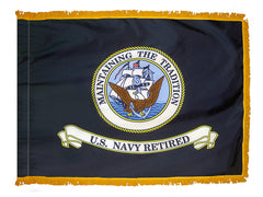 US Navy Retired Indoor Fringed Flag