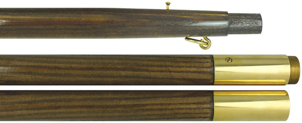 "Oak Pole 2 Piece 12' x 1 3/8"" polished with brass screw joint"