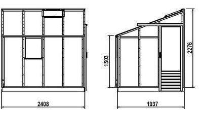 Gabriel Ash Essentials 6x8 Lean-to building measurements