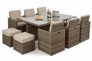 Wicker Style Rattan Exeter 10 Seater Cube Dining Set