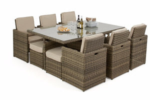 Wicker Style Rattan Exeter 10 Seater Cube Dining Set Gardenbox