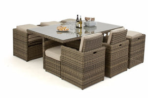 Space saving outdoor rattan cube dining set for up to 10 people