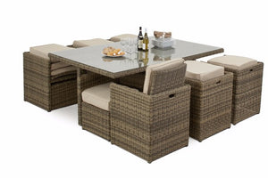 Space saving brown wicker style rattan cube dining set for 10 people Gardenbox.co.uk