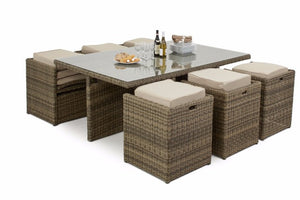 Brown rattan cube dining set for 10 people Gardenbox