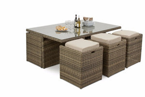 Brown rattan cube dining set for 10 people with glass top dining table Gardenbox