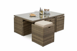 Brown rattan cube dining set for 10 people with beige cushions Gardenbox