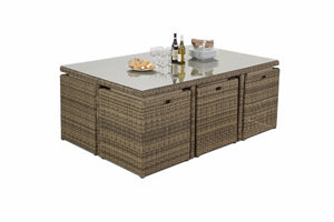 Space saving wicker style brown rattan outdoor cube dining set