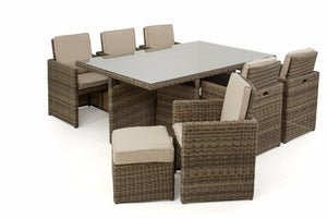 Space saving wicker style brown rattan outdoor cube dining set with beige cushions Gardenbox